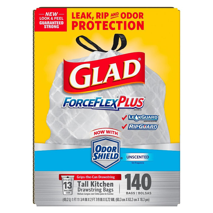 Glad ForceFlex Tall Kitchen Drawstring Trash Bags (13 Gallon, 140 ct.)