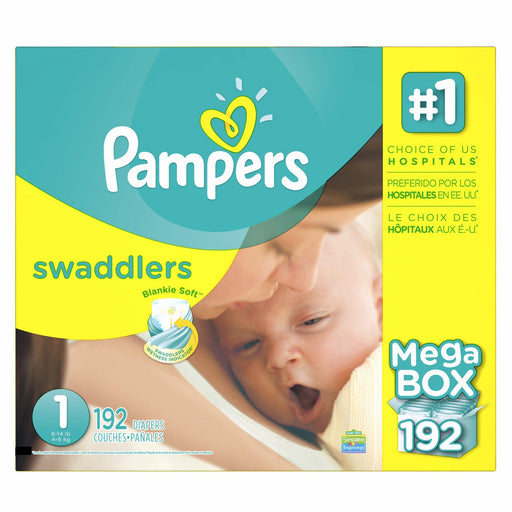 Pampers Swaddlers Diapers (Size 1, 8-14 lbs., 192 ct.)