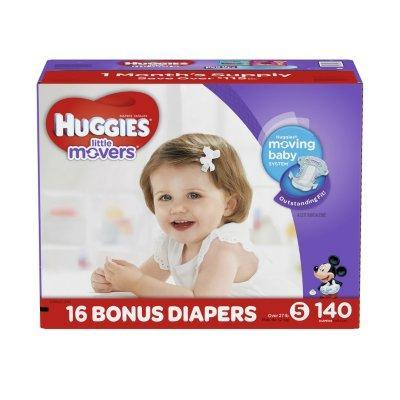 Huggies Little Movers Diapers (Size 5, 27+ lbs., 140 ct.)