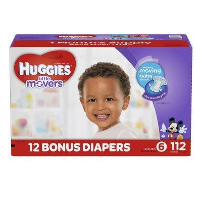Huggies Little Movers Diapers (Size 6, 35+ lbs., 112 ct.)