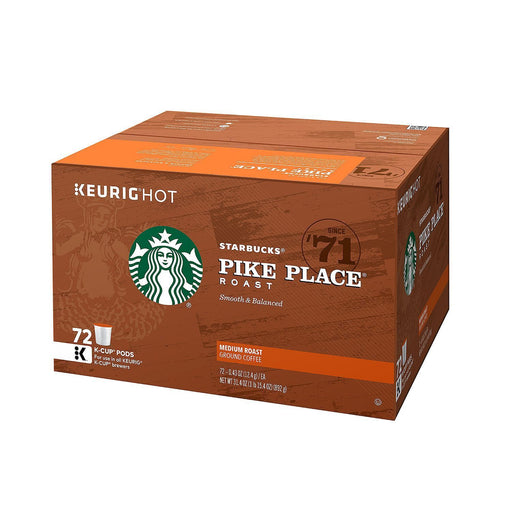 Starbucks Coffee Pike Place, Medium Roast (72 K Cups)