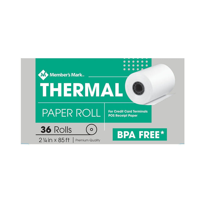 "Thermal Receipt Paper Rolls (2 1/4"" X 85', 36 Rolls)"