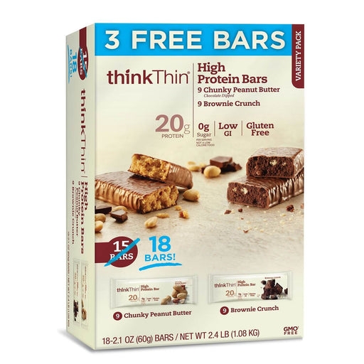 thinkThin High Protein Bars, Chunky Peanut Butter & Brownie Crunch (2.1 oz., 18 ct.) - EZneeds