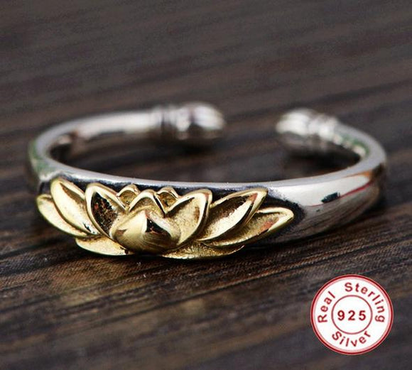 Silver and Gold Lotus Flower Adjustable Ring 925 Sterling