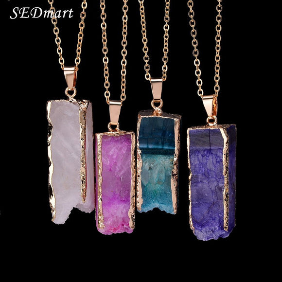 Rectangle Natural Stone Pink Purple Quartz Gem Stone Pendant Necklace