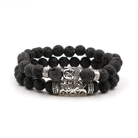 2pcs Beads Buddha Bracelet for Women and Mens