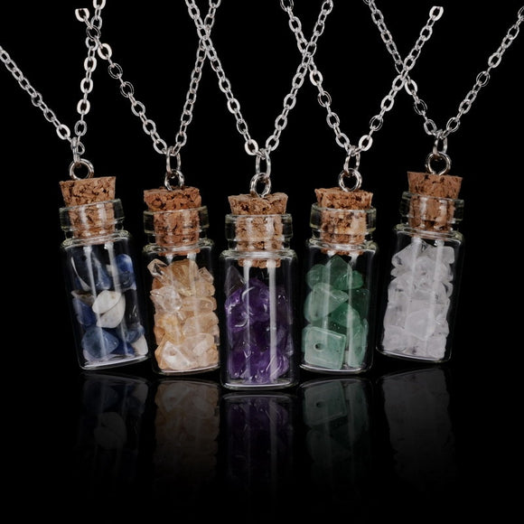 Wish Bottle Natural Stone Chips Filled Glass Pendant