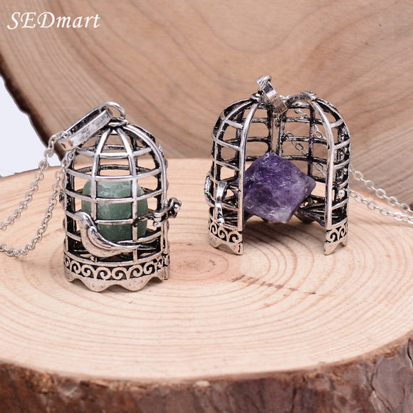 Crystal Bird Cage Pendant Necklace Locket