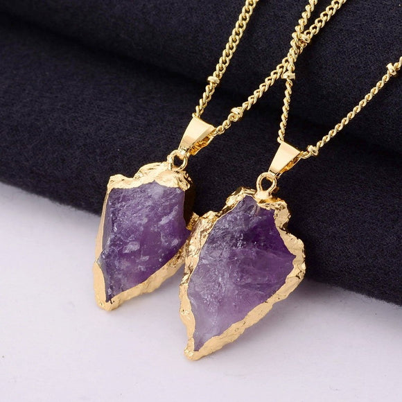 Arrow Healing Purple Crystal Necklace