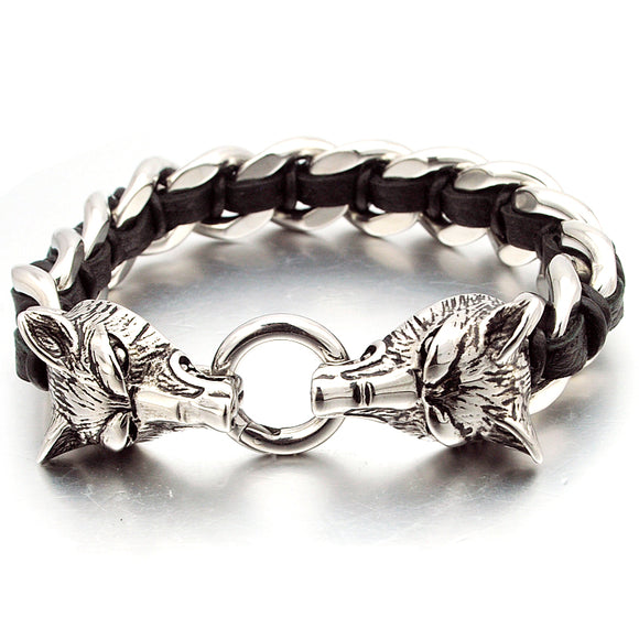 Double Wolf Silver Bracelet High Quality Stainless Steel