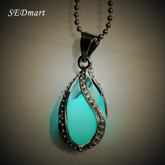Glow In The Dark Mermaid's Teardrop Stone Pendant Statement