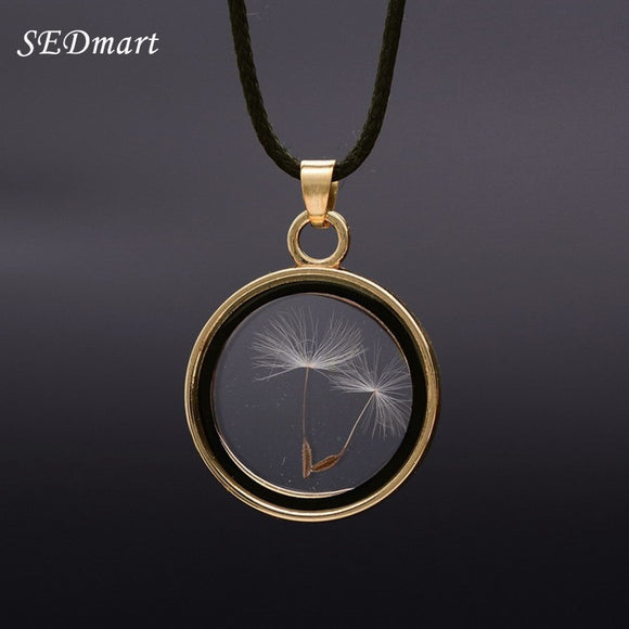 Dandelions Seed Floating Locket Glass Pendant Necklace