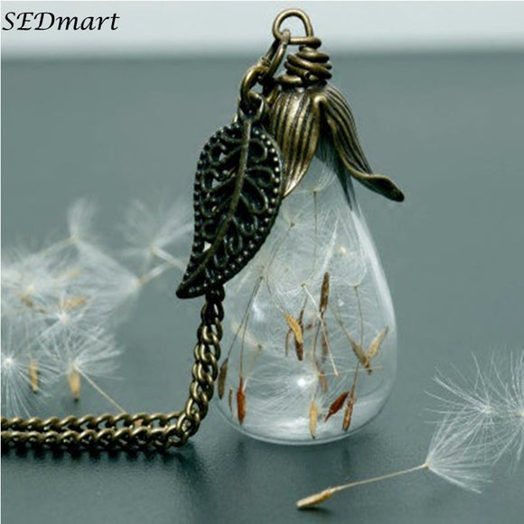 Wishing Bottle Dandelion Glass Pendant Necklace