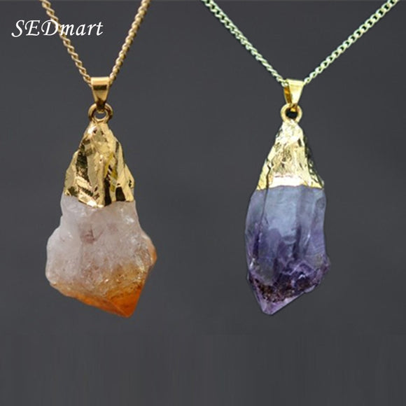 Real Natural Stone Pendant Necklace