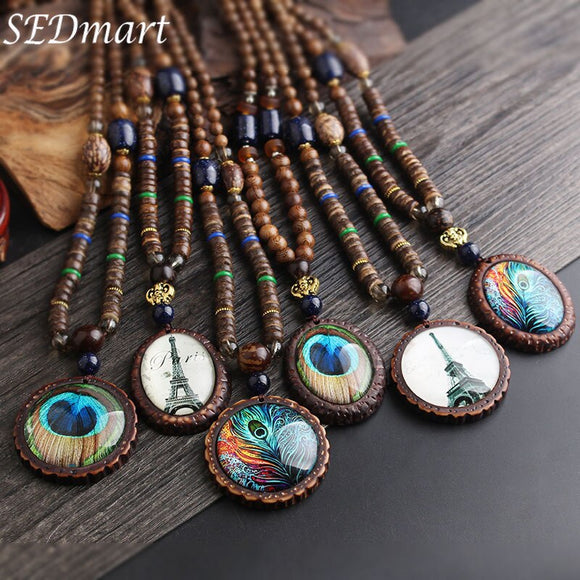 Glass Peacock Feather Pendant Necklace