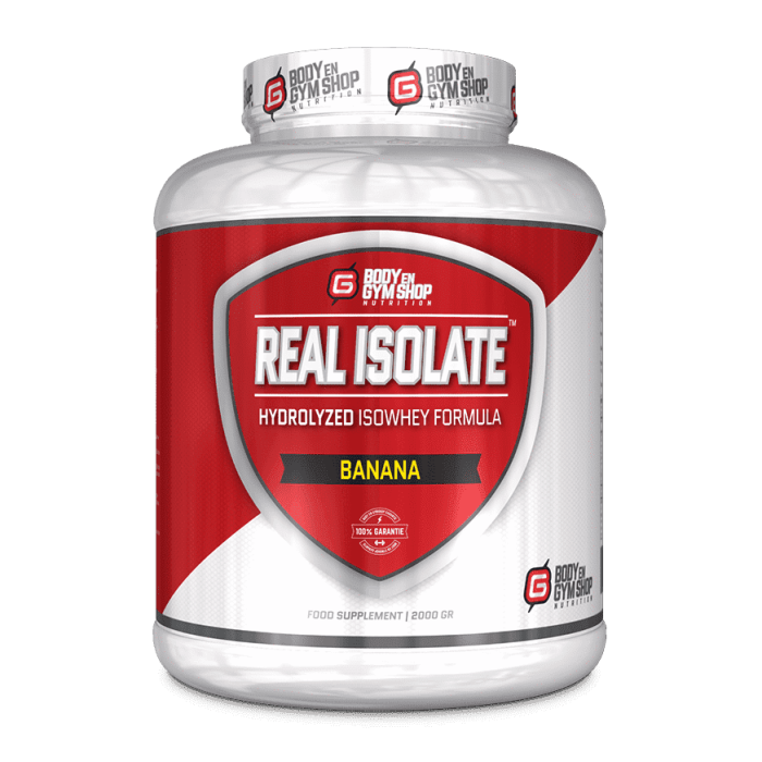 Body & Gym Shop - Real Isolate - 2000 gram / Banaan - Whey-Isolaat