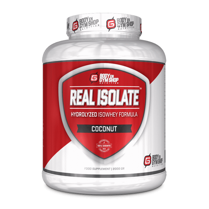 Body & Gym Shop - Real Isolate - 2000 gram / Kokos - Whey-Isolaat