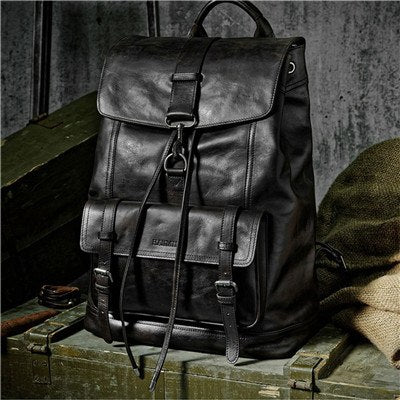 Black Casual Minimalist Cow Leather Backpack