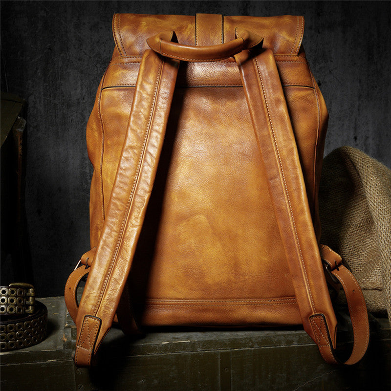 Casual Minimalist Cow Leather Backpack - WANTED STYLE