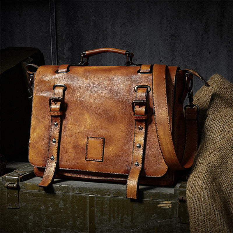 Classic Cow Leather Messenger Bag - WANTED STYLE