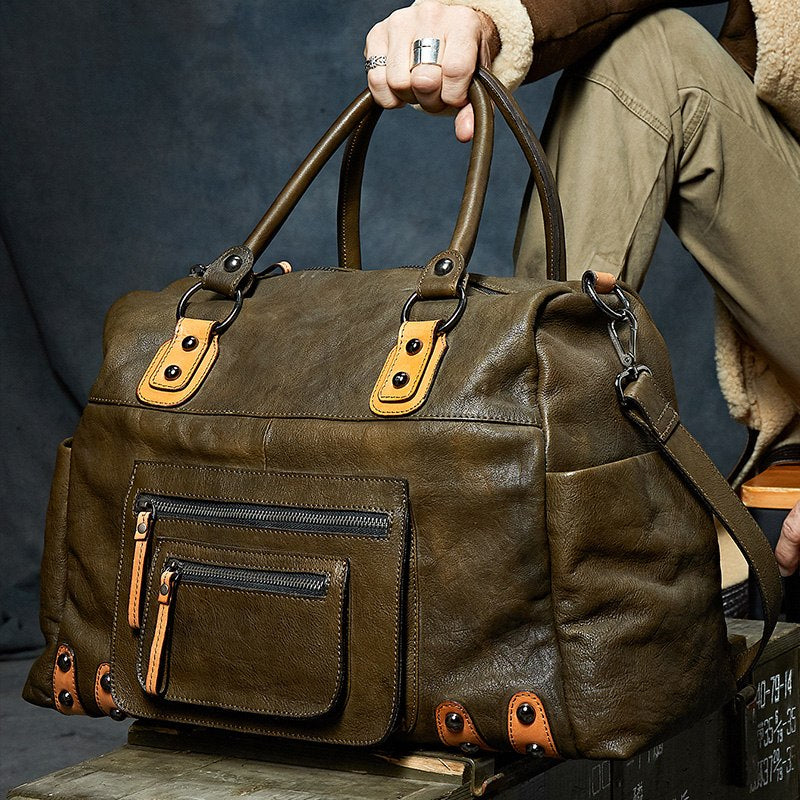 Cow Leather Classic Large Duffle Bag