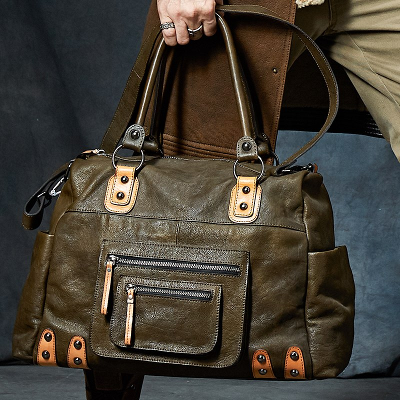 Cow Leather Classic Large Duffle Bag - WANTED STYLE