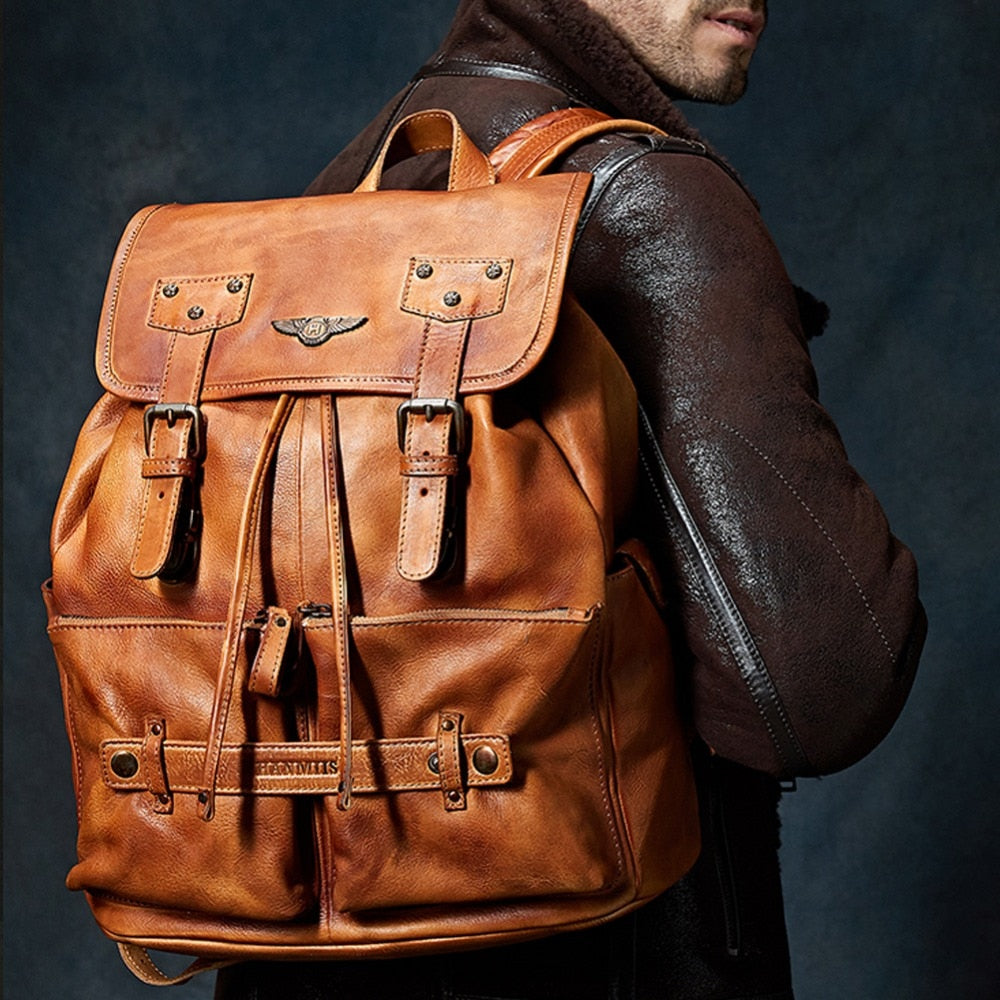 Brown Retro Cow Leather Backpack