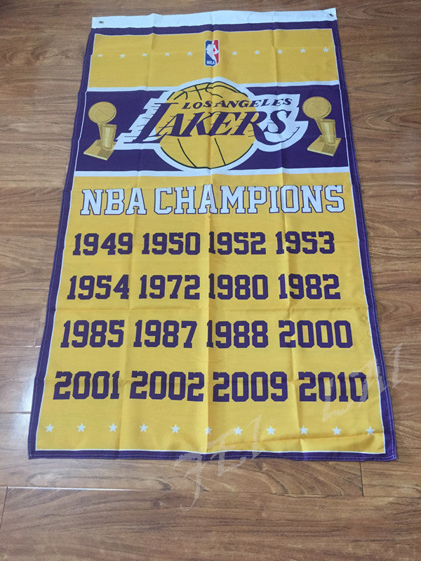 ee7b824cb84 Los Angeles Lakers flag 3ftx5ft Championship Banner – HoopHeroes