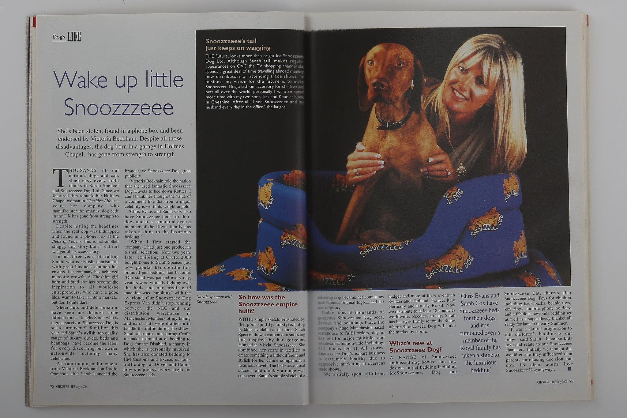 Cheshire Life article about SNOOZZZEEE DOG