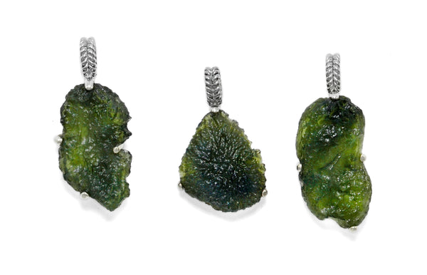 sterling silver raw moldavite jewelry ioola
