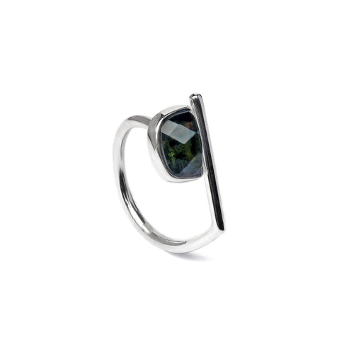 Adjustable Sterling Silver Moldavite Ring Faceted