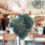 Large Raw Moldavite Sterling Silver Pendant in a heart shape 21.5 gr