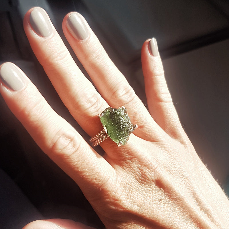 Large Moldavite ring 5 1/2