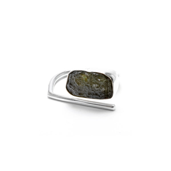 adjustable sterling silver moldavite ring size 10