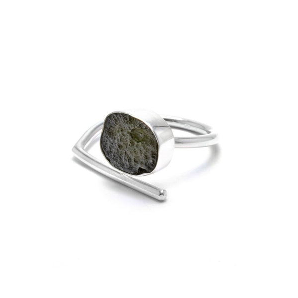 Adjustable Moldavite Ring size 10