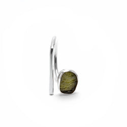 adjustable sterling silver moldavite meteorite ring size 5 1/2
