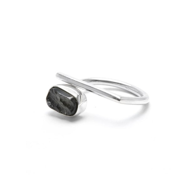adjustable sterling silver moldavite meteorite ring size 6