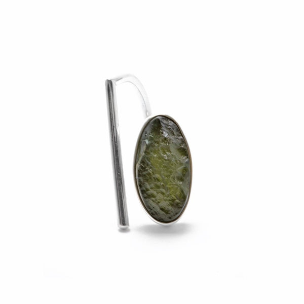 adjustable sterling silver moldavite meteorite ring size 7