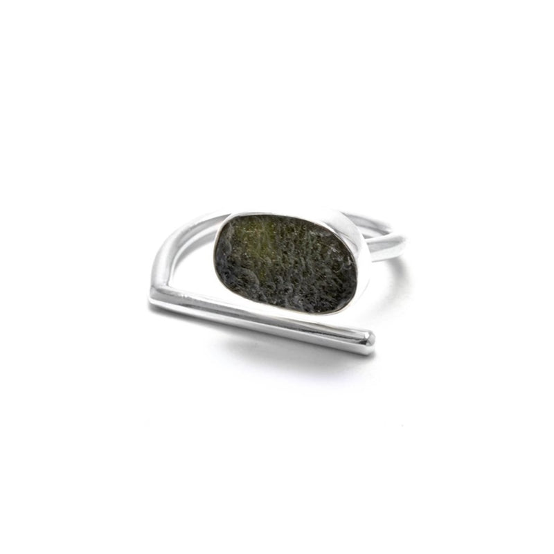 adjustable sterling silver moldavite ring size 8