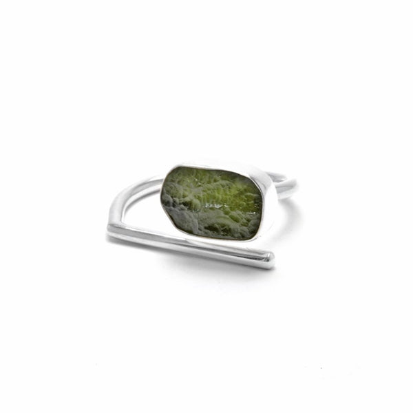 adjustable sterling silver moldavite meteorite ring size 8