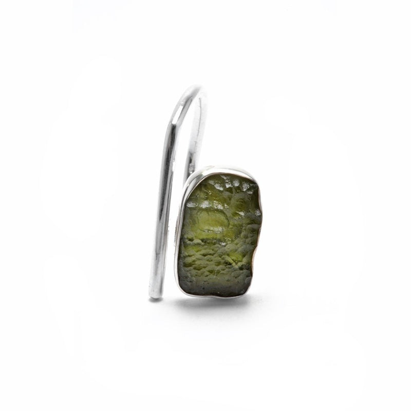 adjustable sterling silver moldavite meteorite ring size 9