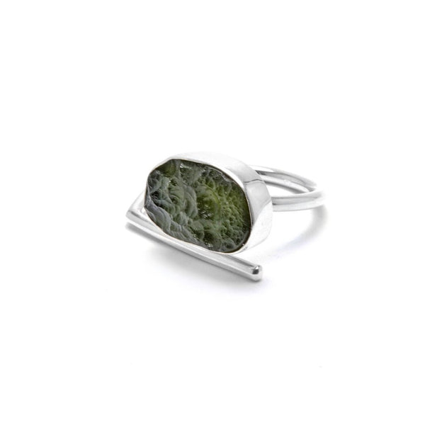 sterling silver adjustable raw moldavite ring size 9