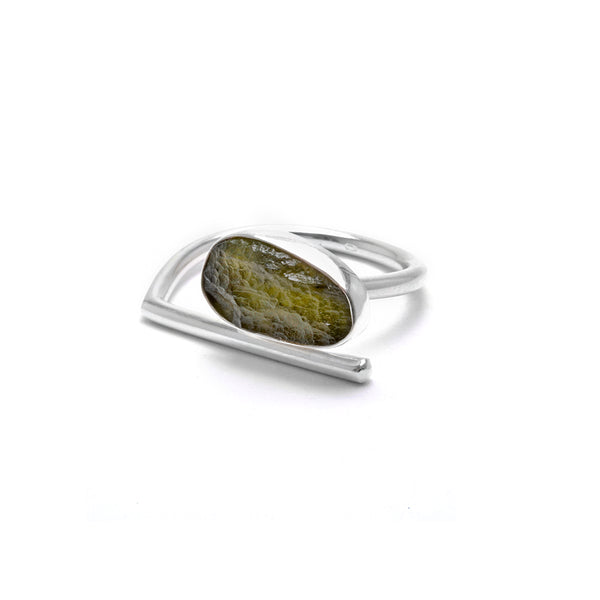 adjustable sterling silver moldavite ring size 9