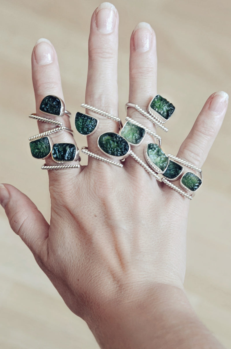 adjustable sterling silver moldavite rings twisted
