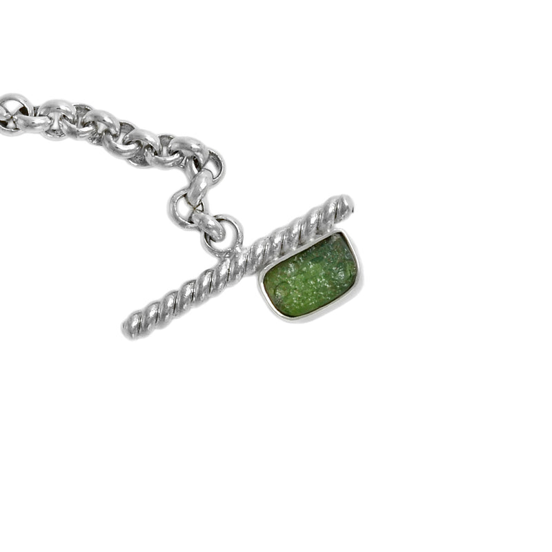 Rolo Chain Moldavite Bracelet with a Toggle clasp