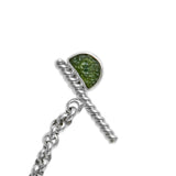Sterling silver rolo chain necklace with raw moldavite with toggle clasp ioola
