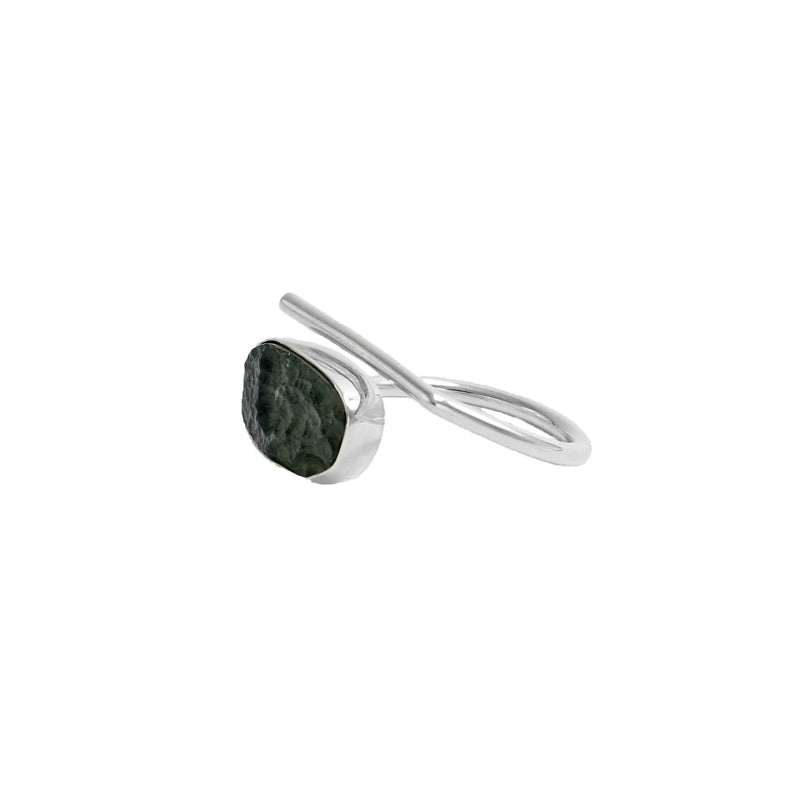 Adjustable Moldavite Ring size 8