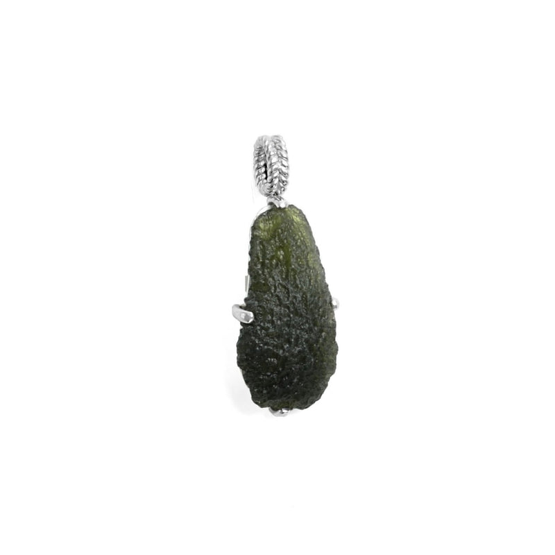 Raw Moldavite Sterling Silver drop Pendant 8.4 gr