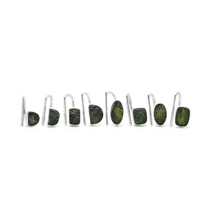 Adjustable sterling silver Raw Moldavite rings ioola