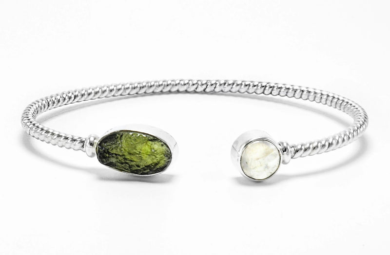 Sterling Silver Moldavite Moonstone Bangle